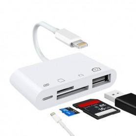 Lecteur de carte Lightning vers SD TF 4 en 1 - Kit adaptateur pour appareil photo Lightning USB Lecteur de carte SD TF, câbl...