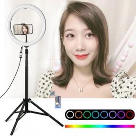 Cercle 30cm a LED Multi couleur avec son pied de 1.65m et son support pour smartphone Vlogging, Tuto makeup...